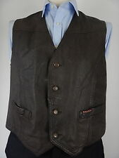 Vintage Marlboro Classics Mens Brown Leather Waistcoat Vest Size UK 40 Medium
