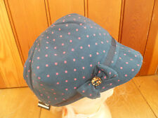 MONSOON ACCESSORIZE BLUE PINK  DOT BOW BAKER BOY PEAKED HAT CAP ONE SIZE