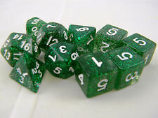 DUNGEONS & DRAGONS Dice D&D Green Glitter Dice Set of 10 Role-playing Dice