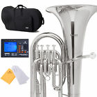NEW 4 STAINLESS VALVES NICKEL PLATED Bb EUPHONIUM +CASE