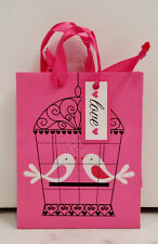 Small Pink White And Black Glitter Love Birds Gift Bag With Ribbon Handles