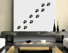 WALL ART DOG PAW PRINTS PET DOGS BEDROOM LOUNGE INTERNAL VINYL STICKER DECAL