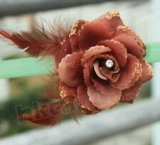 BE brown Feather rose flower clip pin brooches Hairpin Wedding Party dancing
