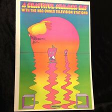 Rare NBC Television TV Peter Max Vintage Pop Psychedelic Wall Art Poster Print