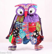 Pretty Cartoon Owl Shape Backpack Patchwork Purple Colourful Shoulder Bags