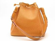 Louis Vuitton Authentic Epi Leather Yellow Petit Noe Shoulder Tote Bag Auth LV