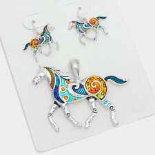 Horse Pendant Earrings SET MULTI-COLOR Metal SILVER Country Farm Cowboy Jewelry