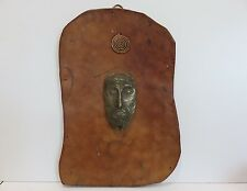 Signed 1967 Handcrafted Leather, Brass & Copper Artwork from Naples Italy
