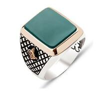 Turkish Ottoman Green Agete gemstone 925 K Sterling Silver Mens Ring All size
