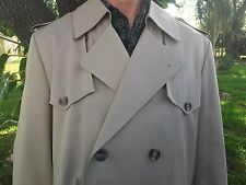 CHRISTIAN DIOR MONSIEUR Trench Coat 42 R Regular MENS Khaki Tan COTTON BLEND