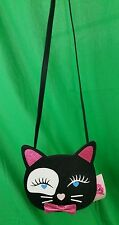 BETSEY JOHNSON LBLUCY Black CAT Kitten FACE Bow FAUX Leather CROSSBODY Bag NWT