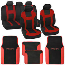 New Monaco Seat Covers Set Front & Rear Racing Black/Red plus Vinyl Mats
