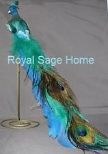 "X0352 Kurt Adler 21"" Large Blue Green Peacock Christmas Ornament Holiday Bird"