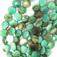 "10mm faceted green chrysoprase coin beads 15.5"" strand"
