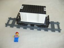 Lego CITY TRAIN: FLATBED RAILCAR & CONTAINER w/ DOORS & RAIL WORKER MINIFIG...VG