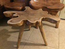 NWT Modern Nakashima Style natural form TEAK ROOT WOODEN side table/stool/bench