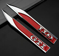 2pcs Auto Car Metal Knife Badge Emblem Decal Sticker For Red GTI Racing sports