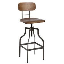 Sgabello moderno legno e ferro regolabile con seduta girevole design industriale