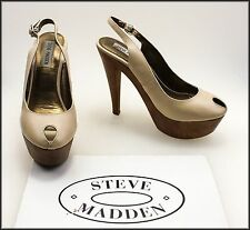 STEVE MADDEN WOMEN'S  PLAT FORM HIGH HEELS OPEN TOE SHOES SIZE 8.5 M WORN TWICE