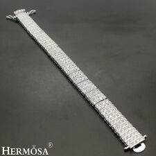 Luxury Hermosa 925 Sterling Silver Genuine White Topaz Wide Band Bracelet 7""