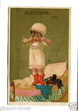 Victorian Trade Card KAZINE Washing Powder Soap Rochester NY Grocer child on bed