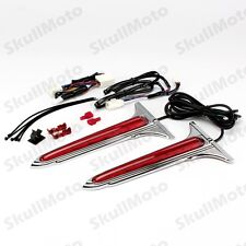 Chrome L.E.D. Rear Saddlebag Accents Lights with Red Lenses For Harley Road King