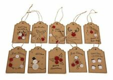 10 Hand Made Christmas Paper Cardboard & Buttons Craft Gift Message Favour Tags