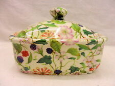 Hedgerow chintz butterdish by Heron Cross Pottery