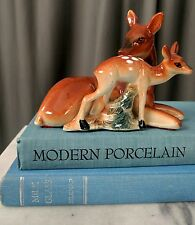 Vintage Ceramic Kitsch Japan 1960's Deer Mama and Fawn Doe Vtg Figurine Mid Cent