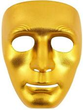 NEW FANCY DRESS PLAIN ROBOT FACE MASK METALLIC GOLD HB