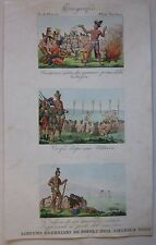 1845 COSTUMI GUERRIERI NORD AMERICA acquafort Marmocchi Native American warriors