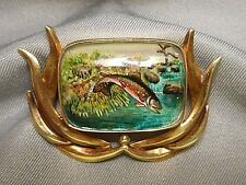 14K Gold Brooch Large Essex Reverse Painted Crystal Jumping Trout Fish in Stream