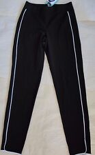 NWT $44 Hue Women Piped Polished Twill Skimmer Leggings Sz L Black U16650