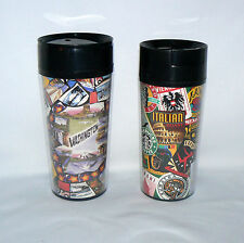 2 STARBUCKS COFFEE MIS MATCH STAMPS & LANDMARKS THERMO-SERV TRAVEL TUMBLERS