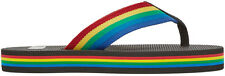 Saint Laurent Men's Rainbow Grosgrain Flat Flip-Flop Sandals 45 US 12 NIB $495