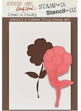 NEW Wendy Vecchi Studio 490 Rubber Stamp It Stencil It FRESH & FUNKY FLOWER