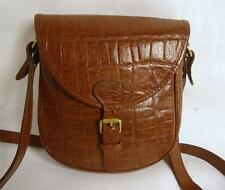 REGENT HAND MADE BROWN CROCODILE PRINT LEATHER SATCHEL SADDLE SHOULDER BAG