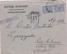 Stamps Turkey Adrianopel Bulgaria Deutsche Orientbank registered to Australia