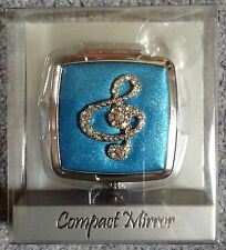 MUSIC CLEF SQUARE COMPACT MIRROR - BLUE
