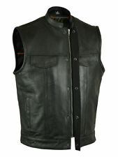 SOA Men's Anarchy Leather Motorcycle Biker Club Vest Concealed Carry Outlaws