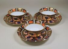 Royal Crown Derby Vintage Imari 1128 6149 Set of 3 Teacup Tea Cups & Saucers