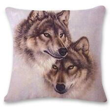 "Room Decor Nice Linen Cushion Cover Pillowcase Sofa 45cm/18"" Couple Wolf #12 F"