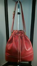 Vintage LOEWE Red Leather Drawstring Bucket Bag Iconic Epi Noe Style