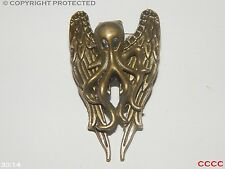 steampunk jewellery badge brooch bronze kraken octopus angel wings pirate