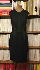 CEDRIC CHARLIER dress UK12 IT44 black green geometric fitted pencil knee length