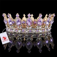CZ Silver Teardrop Violet Full Crown Celebrity Bridal Prom Gold Plating Tiaras