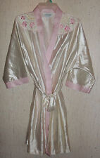 NWOT WOMENS LORRAINE LOVELY IVORY SATIN BELTED ROBE  SIZE M  MADE IN U.S.A.