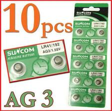 10pcs/Lot AG3 SG3 LR41 192 Alkaline coin Button coin Cell Battery Suncom New FS
