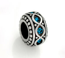 Stainless Steel Rondelle Spacer Beads w/ Blue Rhinestones for European Bracelets
