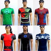 Mens Marvel T-Shirts Compression Armour Base Layer Tight Skins Top Shorts Pants